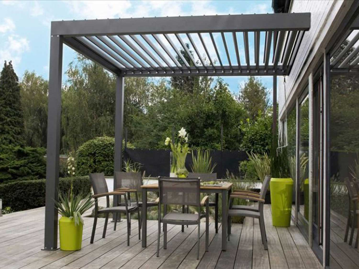 Pergola bioclimatique leroy merlin for Pergola alu pas cher