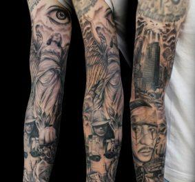 Tatouage sur bras homme
