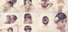 Coiffure simple mariage cheveux mi long