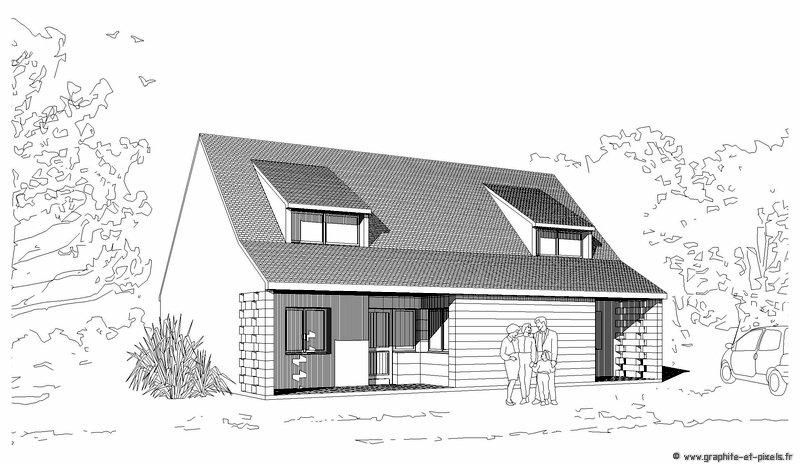 Maison architecte dessin - Dessin de maison moderne ...