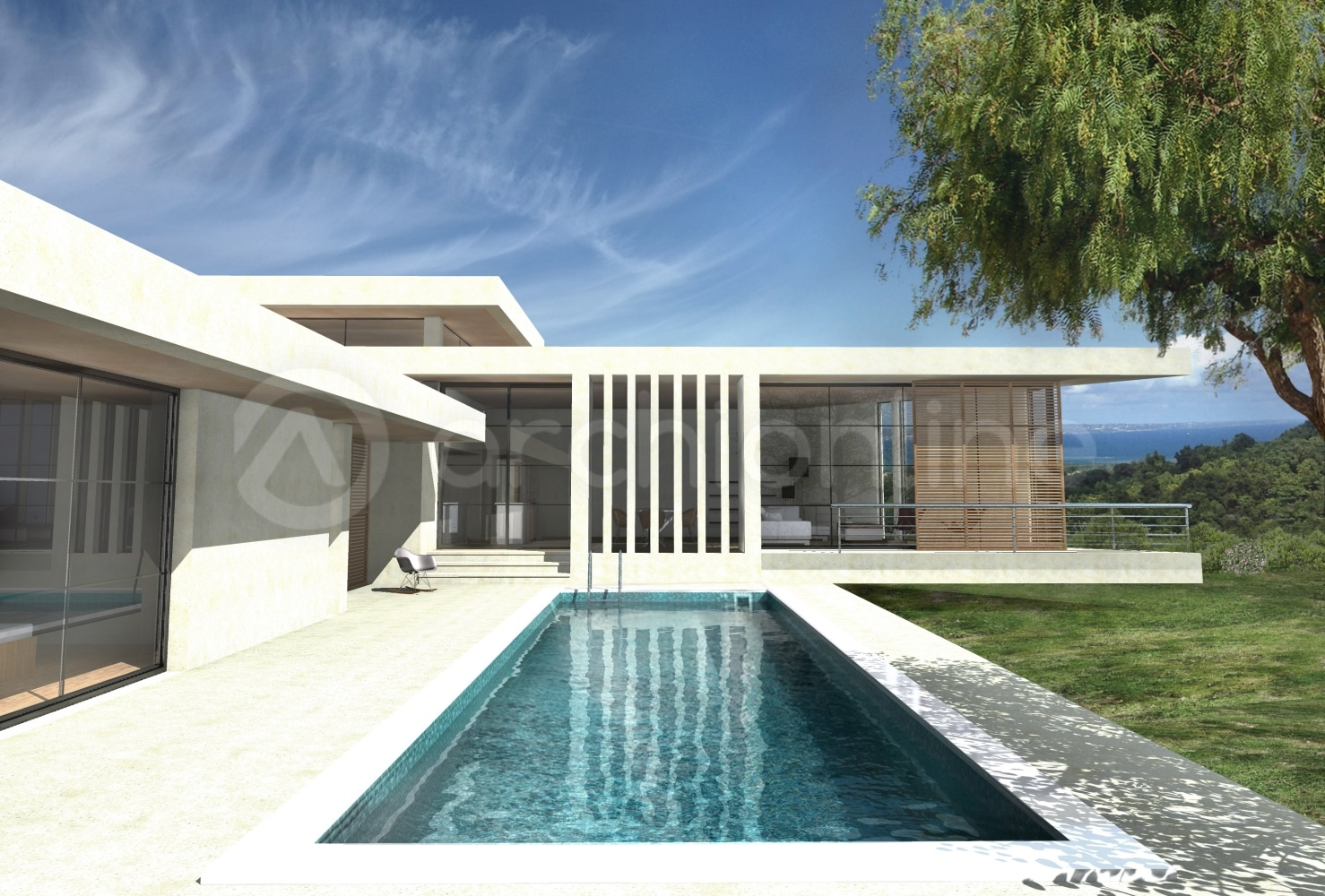 Maison moderne plain pied architecte for Plan maison architecte moderne