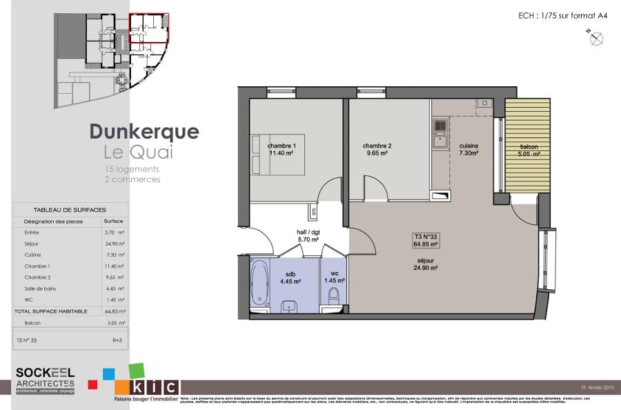 plan appartement 65m2. Black Bedroom Furniture Sets. Home Design Ideas