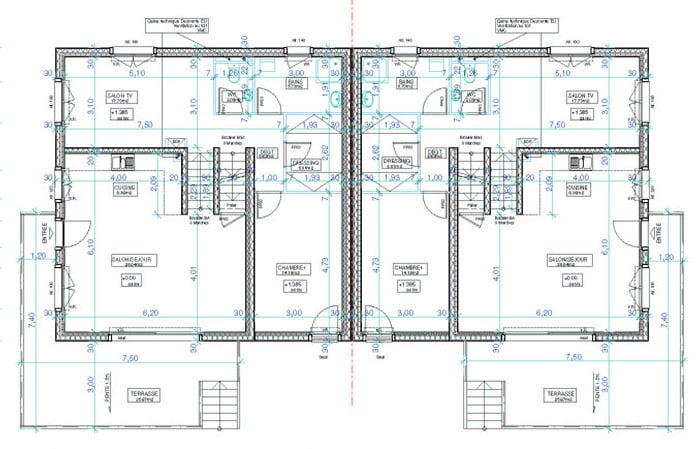 plan maison 2 appartements