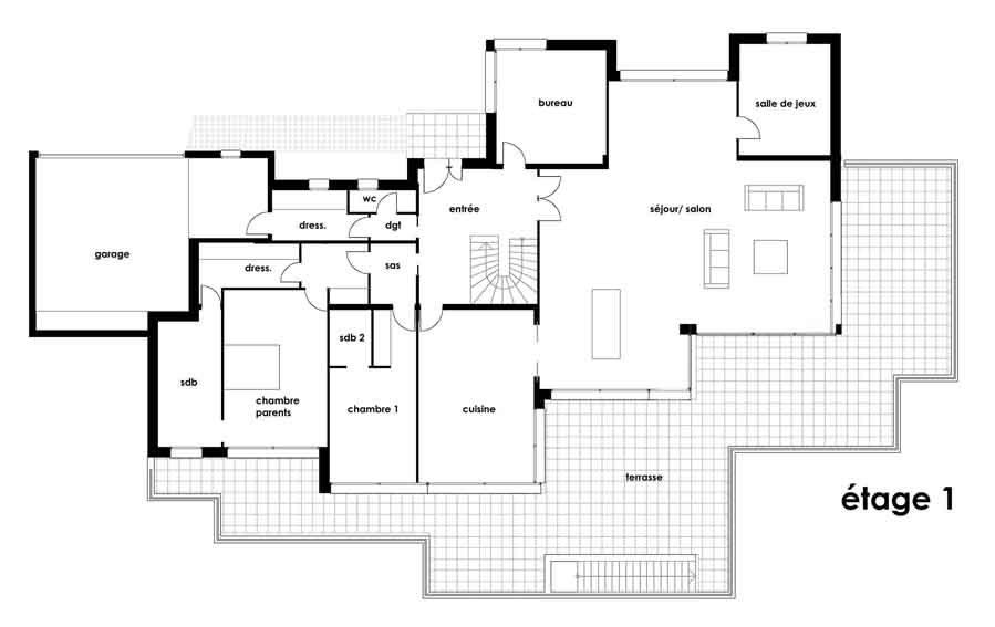 Plan maison architecture moderne
